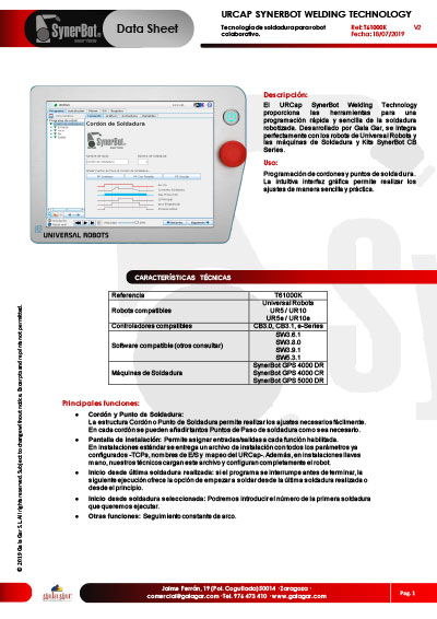 FICHA FT-R61000K (URCAP-SYNERBOT-WELDING-TECHNOLOGY)